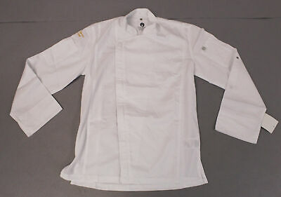 Chef Works Men's Long Sleeve Zip Closure Hartford Chef Coat BE9 White Small NWT