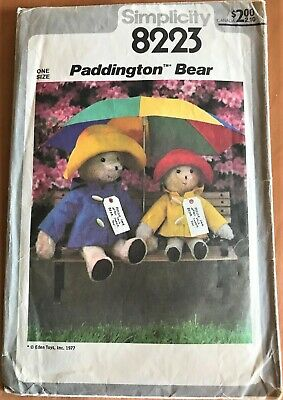 Simplicity 8223 Paddington Bears Vintage Sewing Patterns and Instructions