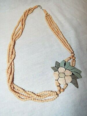 Antique/Vtg Stone Flower Mosaic Necklace Peach Coral & Jade Beads BEAUTIFUL