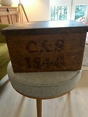 Antique 1846 wooden candle box