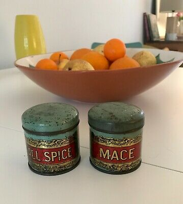 Pretty Pair of Antique Spice Jars Tins. All Spice and Mace. Duck Egg Blue.