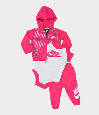 Nike Baby Girls' 3-Pc Hoodie Bodysuit & Pants Set Size 0-6 months