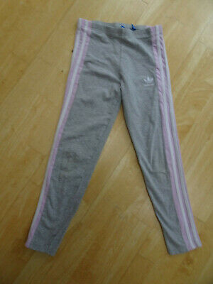 ADIDAS girls grey pink leggings AGE 9 - 10 YEARS EXCELLENT COND