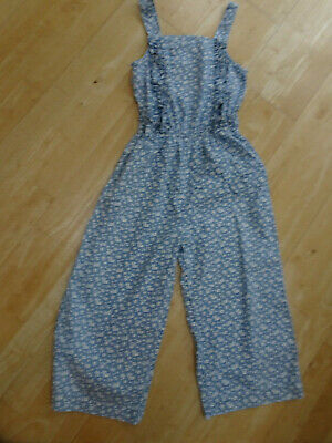M&S girls blue cream floral summer trousers jumpsuit all in one AGE 10 - 11 YEAR