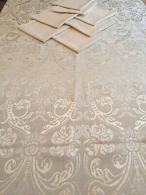 Ivory Damask Tablecloth Cotton Blend  with 6 coordinating  ivory dinner napkins
