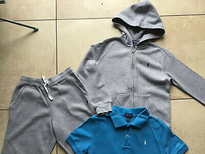 Boys POLO RALPH LAUREN 3 piece grey tracksuit outfit aged 7 years USA FAB
