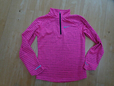 NIKE DRI FIT girls pink black long sleeve top AGE 10 11 12 YEARS EXCELLENT