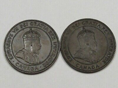 2 VF+/XF Canadian Large Cent Pennies (w/ Full Crowns): 1906 & 1907. CANADA. #127