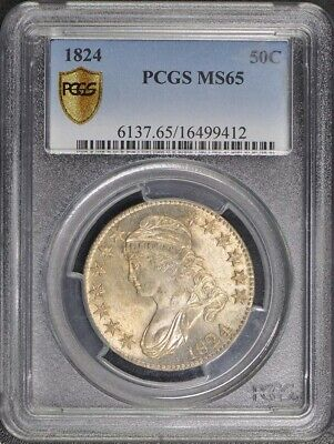 1824 50C Capped Bust Half Dollar PCGS MS65