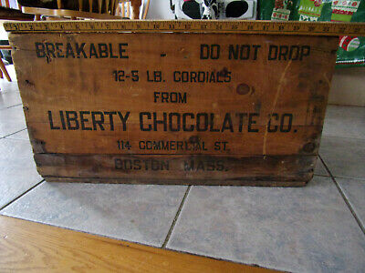 Antique Advertising Wood Box / Crate Liberty Chocolate Co. Boston Mass Vintage