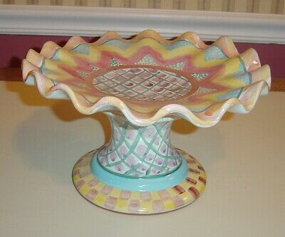 "1990 MACKENZIE CHILDS Large 11 1/4"" Ruffled Compote Pedestal Bowl"