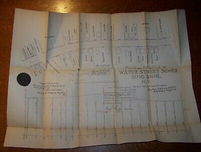 1900 Antique Village Sing Sign Ny Water Street Sewer Map