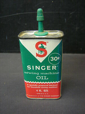 Vintage Singer Sewing Machine Oil 4 oz Tin Can