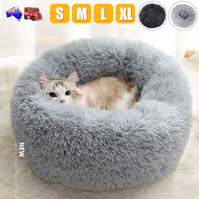HOT Pet Dog Cat Calming Bed Warm Plush Round Nest Comfy Sleeping Kennel Cave AU