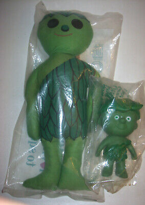 """Vintage Lot of 2 16"""" t JOLLY GREEN GIANT RAG DOLL & 6"""" t LITTLE SPROUT NRFP"""