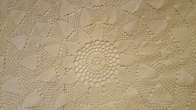 Crochet Pineapple Tablecloth White Vintage Crocheted Handmade 30 Inches 1042