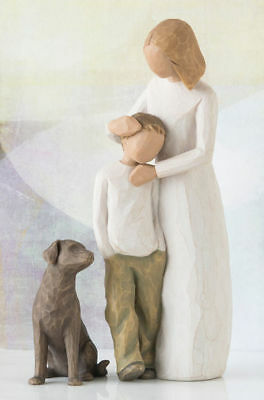 Willow Tree Figurines Set Mother & Son With Dog Figurine Individually Boxed