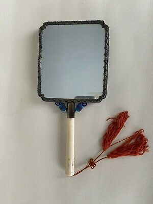 Chinese Hand Silver , Jade And Enamel Mirror , Old