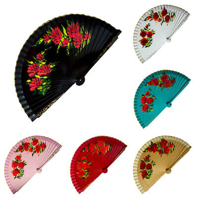Wooden Red Dahlia Floral Design Hand Held Folding Fan Abanico Double Sided NEW