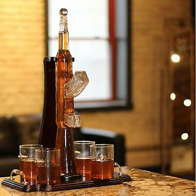 Gun Whiskey Decanter Set. Includes 4 Whiskey glasses, coasters, and wood base