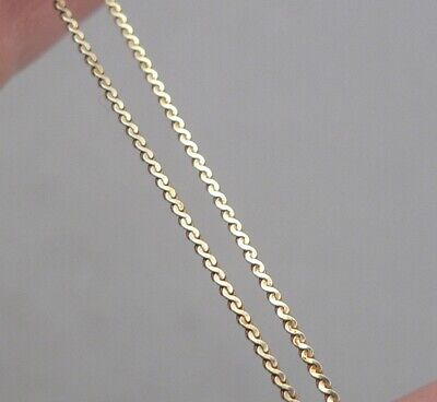 "Vintage 14K Yellow GOLD S-Link Chain .8mm Wide 15"" Long Necklace 1.3 Grams ITALY"