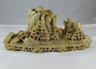 Vintage Soapstone Mountain Village Scene Hand Carved Asian Sculpture Chinese