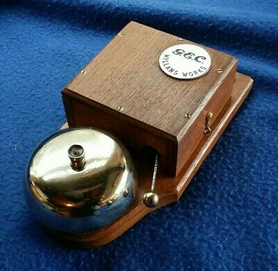 Antique Vintage Old Retro Gec Electric Door Railway Butler Alarm Bell Wood Brass