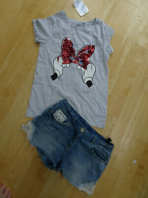 NEXT girls 2 PACK blue denim jeans shorts & minnie mouse t shirt AGE 12 YEARS NE