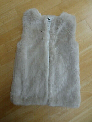 PRIMARK YD girls beige faux furry gilet bodywarmer AGE 11 - 12 YEARS excellent