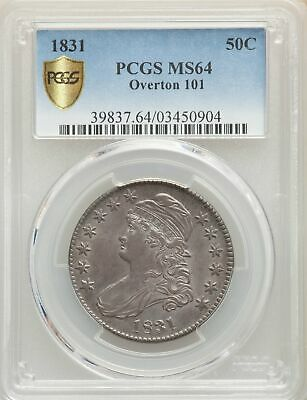 1831 US Silver 50C Capped Bust Half Dollar-O-101 - PCGS MS64