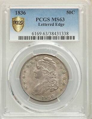1836 US Silver 50C Capped Bust Half Dollar - Letter Edge - PCGS MS63