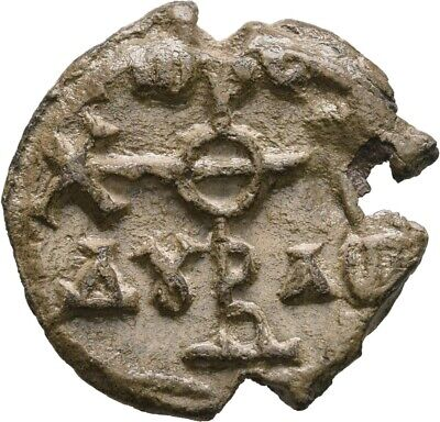 Lanz Byzantine Empire Lead Seal Greek Monogram Legend Pb ±Tel1462
