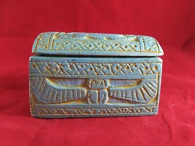 RAREoriginal ANTIQUE ANCIENT EGYPTIAN Coffin contains 4 Canopic Jars 1820 Bc