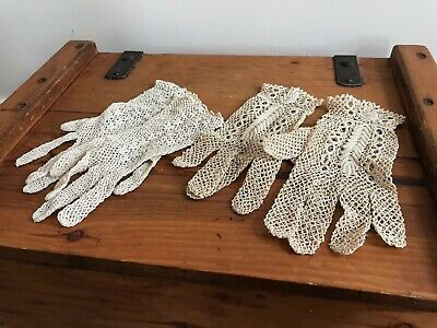 2 X Pairs Of Antique Ladies Finley Hand Made Lace Gloves