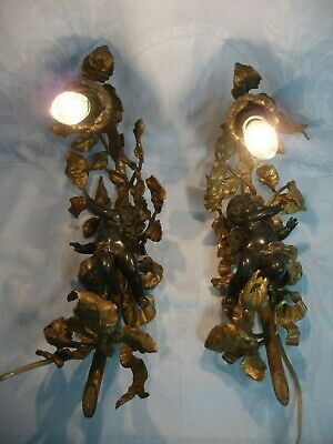 PAIR OF VINTAGE FRENCH GILT BRONZE WALL SCONCES w/PATINATED CAST CHERUBS