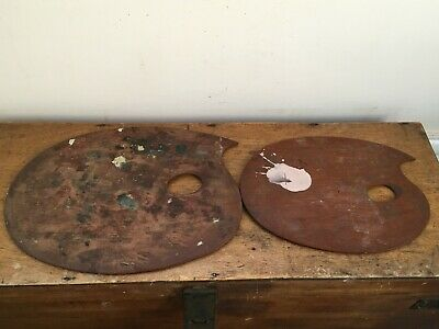 2 ANTIQUE WOODEN ARTISTS PALETTE BOARDS - 1 marked WINSOR & NEWTON 10 & 12 inch