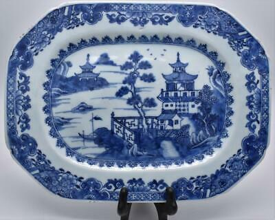 Large Antique Chinese 18thC Qianlong Blue and White Platter Tray Dish