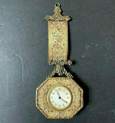 OLD Antique BOUDOIR BED HANGING CLOCK Beautiful Tapestry ORNATE Runs NEEDLEPOINT
