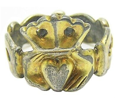 14th - 16th century Medieval silver gilt fede betrothal ring large size 9 1/2
