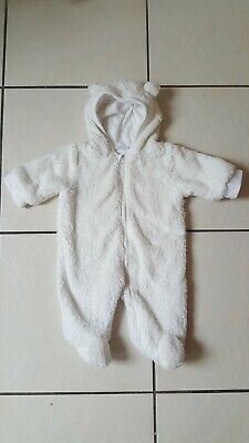 Baby Girls Pramsuit Fur Snowsuit All In One White Size 1 Month