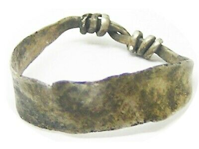 Excavated 8th - 10th century A.D. Scandinavian Viking silver finger ring size 7