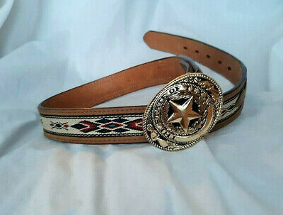 "State of Texas Buckle & Brown 22-28"" Belt Boy's Child Youth"