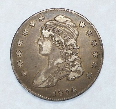 1834 SMALL Date/SMALL Letters Silver Capped Bust Lettered Edge Half Dollar  XF