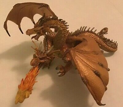 """Papo Two Headed Dragon Figure Tan 4.5""""x7"""" Medieval Realistic Creature 2005 gold"""