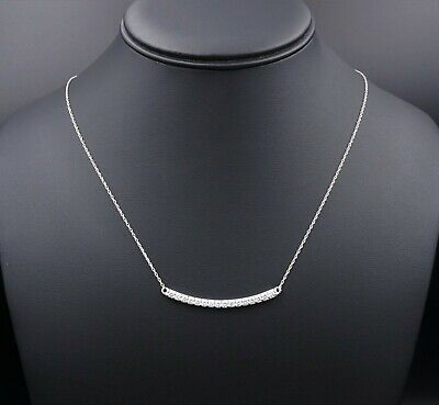 "14k White Gold 1ct Natural Diamond Curved Bar Fixed Pendant Necklace 20"" NG757"
