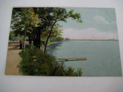 [D1] Vtg travel vacation postcard Michigan - PONTIAC, MICH. PINE LAKE - MI