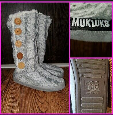 Muk Luks tall slipper boots booties faux sherpa lined warm XL 9-10 mukluk shoes