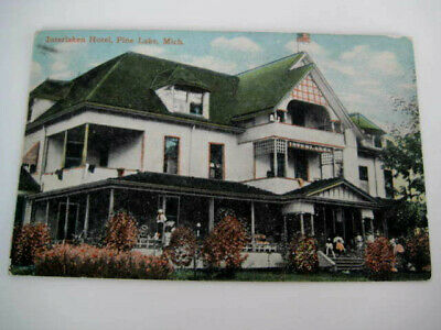 [H1] Vtg travel vacation postcard Michigan - INTERLAKEN HOTEL, PINE LAKE MI