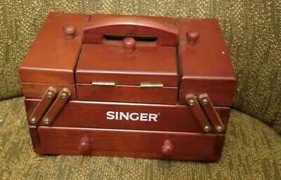 Small Miniature Wood Singer Accordian Style Sewing Box