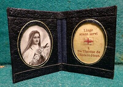 w/ RELIC: LINEN USED BY ST THERESE LISIEUX w/SEAL Old LEATHER BOOKLET RELIQUARY